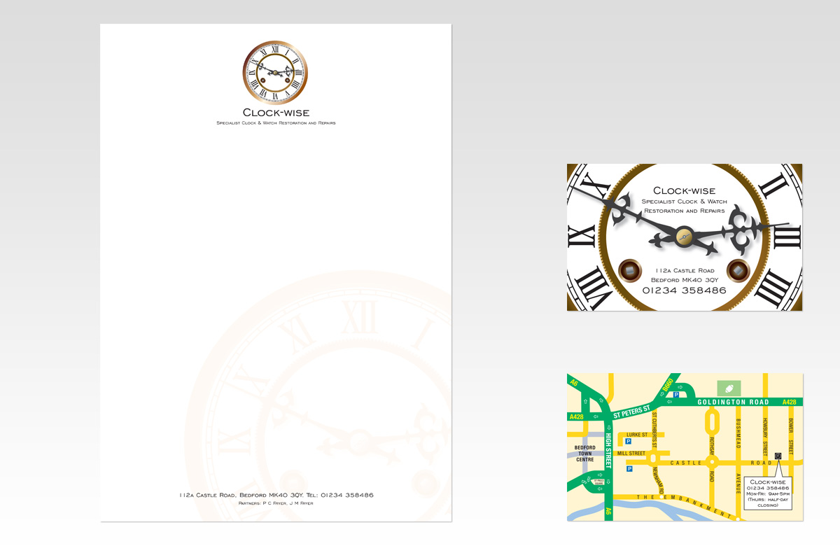 Tam design group portfolio clock wise letterhead and business card reheart Choice Image